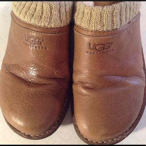 UGG Shoes - UGG AUSTRALIA WEDGE MULES BROWN LEATHER SIZE 8.
